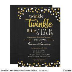 Twinkle Little Star Baby Shower Gold Glitter Card #Twinkle #Little #Star #Baby #Shower #Gold #Glitter #Invitation