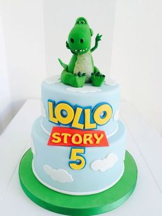 Toy Story Dinosaur cake - Toys for years old happy toys Toy Story Birthday Cake, Toy Story Party, 2nd Birthday, Birthday Ideas, Dino Cake, Dinosaur Cake, Toy Story Dinosaur, Toy Story Cupcakes, Toy Story Cookies