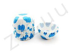 150 pirottini tondi a cuori azzurri con base 30mm #pirottini #ZiZuu