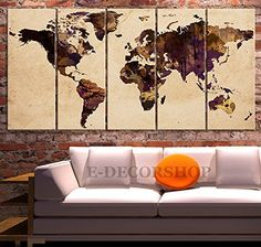 Extra Large Wall Art Canvas World Map - Retro Contemporary 5 Panel Vintage Sephia Colors Large Wall Art - 80x40 Inch Total MyGreatCanvas http://www.amazon.com/dp/B00ZCMU8NK/ref=cm_sw_r_pi_dp_cKPVvb112BZA3