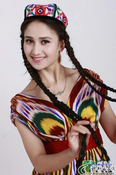 Uyghur girl in national dress.