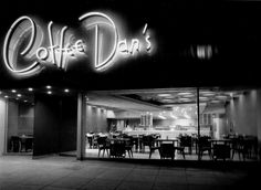 Coffee Dan's on Wilshire Blvd. in Beverly Hills - 1948.  Architect: John Lautner  Photograph: Julius Shulman   #LindaMayProperties #LiveYourLuxury #LindaMay.com