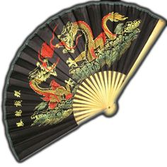 Wall Fan 36 Inch with Black Background and Double Dragons  Price: $19.99 Feng Shui Dragon, Ninja Gear, Large Fan, Chinese Mythology, Jade Dragon, Dragon Statue, Wall Fans, Hand Fan, Black Backgrounds