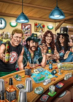 Julho : O dia mundial do Rock. Very cool cartoon portraiture of Lemmy, Slash and a few others hanging around a bar.Very cool cartoon portraiture of Lemmy, Slash and a few others hanging around a bar. Rock And Roll, Pop Rock, Metal Bands, Rock Bands, Metallica, Rock Y Metal, The Beatles, Heavy Metal Art, Heavy Rock