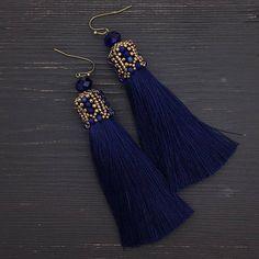 Tassel Earrings long earrings beaded earrings blue tassel