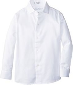 Calvin Klein Boys' Long Sleeve Sateen Dress Shirt this can go under your robes if you don't have a uniform