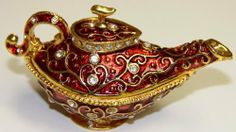 Red Genie Lamp Bejeweled Collectible Trinket Jewelry Box by Gift Square Trinket