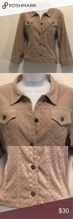 WHBM Tan Short Crop Button Down Jacket Excellent Condition, top button is missing. Stretch, Long Sleeve, Button Down, Cool Print. Jackets & Coats