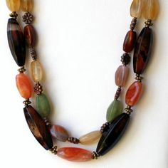 Chunky Agate Necklace/ Double Strand Statement Necklace/ Short Rustic Necklace/ Semiprecious Stones/ Brown Green Cream Burnt Orange/ Unique