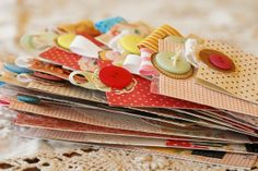 DIY Bookmarks: Scrapbook paper and button. Scrapbook Cards, Scrapbooking, Diy Bookmarks, Paper Crafts, Diy Crafts, Ministry Ideas, Women's Ministry, Card Tags, Altered Books