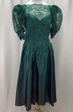 6eab1e8313e Vintage 80s Prom Dress Green Satin Hi Low Puff Sleeve Bow Alfred Angelo Sz  11-12