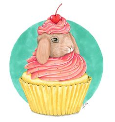 I love baking and bunnies, so combining the two was fun! It was a challenge but I enjoyed drawing the cupcake frosting.