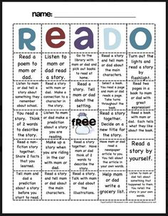 Take home reading activities (Reado). Made something like this for middle school will have to remake for Maybe instead of reading logs parents just initial. Reading Resources, Reading Activities, Reading Skills, Teaching Reading, Reading Practice, Guided Reading, Parent Involvement Activities, Teaching Ideas, Reading Projects