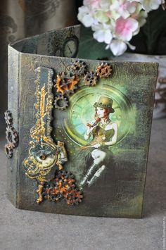 Купить Подарочный набор - коричневый, подарочный набор, стимпанк, в стиле стимпанк, тетрадь, органайзер, украшение