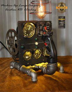 Steampunk Vintage Aviation Jet Phantom Control Stick and Instruments Lamp / Lamp Steampunk Design, Steampunk Lamp, Diy Wood Projects, Design Projects, Steampunk Machines, Aviation Decor, Pot Mason, F4 Phantom, Vintage Stoves