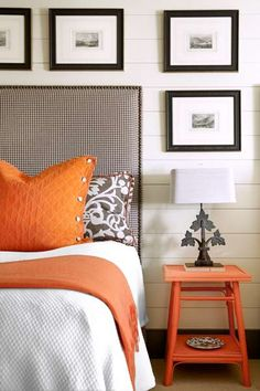 Atlanta interior designer Nancy Warren uses a backdrop of cream and black to set off pops of the hot new Pantone color, tangerine tango.: I like this color palate for perhaps the formal living room Bedroom Orange, Gray Bedroom, Home Bedroom, Bedroom Decor, Bedroom Ideas, Pretty Bedroom, Bedroom Designs, Grey Bedroom With Pop Of Color, Colours That Go With Grey