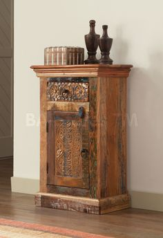 Reclaimed Wood Door and Drawer Accent Cabinet