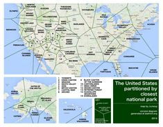 US partitioned by closest national park.