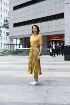 SHENTONISTA: High Shine. Soo Wei, Freelance Host. Top from ZARA, Skirt from Style Theory. #shentonista #theuniform #singapore #fashion #streetystyle #style #ootd #sgootd #ootdsg #wiwt #popular #people #male #female #womenswear #menswear #sgstyle #cbd #ZARA #StyleTheory