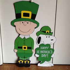 Charlie Brown and Snoopy St. Patricks Day Yard Art Charlie is 38 inches tall and Snoopy is 24 inches **All of my Yard Art is made out of 1/2 inch MDO sign board. This is a special product that is specifically made for outdoor use. It is more expensive than plywood but will easily
