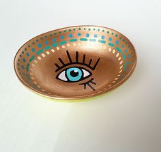 Lime Green & Gold Evil Eye- MADE TO ORDER- Engagement Ring Dish, Bridal Gift, Jewelry Holder, Evil Eye Jewelry Dish, Bridesmaid Gift