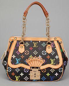 7ce445654640 Louis Vuitton Murkami Black Monogram Canvas Gracie MM Lv Handbags