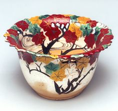 The Enamels Tatsutagawa BunToru Carved anti-pot See at the Okada Museum and the story; In the collection of okada museum of art, Hakone, kenzan ogata () Ogata Kenzan (1663-1743),