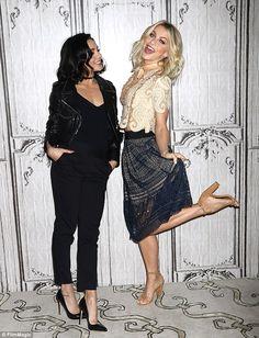 Fancy footwear! The blonde bombshell wore beige heels when she joined Vanessa Hudgens on M...