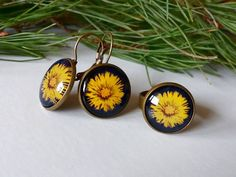 Flower Jewelry Set, Tussilago Farfara Yellow Flower Earrings Ring, Unique Coltsfoot Graphic, Nature Photo Jewelry, Gift for Wife Her I took a photo of this coltsfoot during my spring walk through beautiful Polish mountains... Image under the glass cabochon presents my own artwork, so