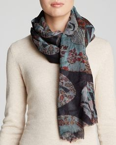 This is a women's wool printed multi adult chic wrap boho look new scarf from Meesha, a garment worn around the head or neck or shoulders for warmth or decoration.