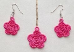 FSL Earrings and Pendant 5, 7 - 4x4   What's New   Machine Embroidery Designs   SWAKembroidery.com Ace Points Embroidery