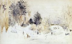 Berthe Morisot Snowy Landscape (also known as Frost) hand painted oil painting reproduction on canvas by artist