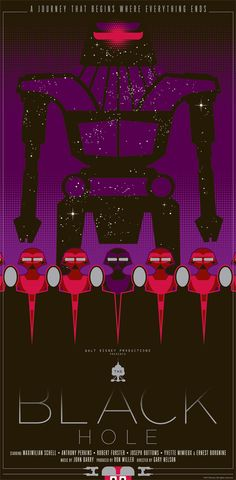 "The Black Hole 1979 | The Black Hole"" by Mark Daniels. 12″ x 24″ Screenprint. Ed of ..."