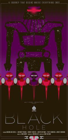 "The Black Hole 1979 | The Black Hole"" by Mark Daniels. 12″ x 24″ Screenprint. Ed of ..."