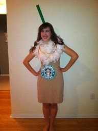 Starbucks Halloween Costume - All youd need is a tan dress, white boa, narrow green tube and a logo to top it all off.