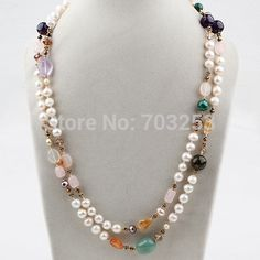 Aliexpress.com : Buy Two Strands Elegant Design White Pearl and Multi Color Stone Necklace from Reliable Power Necklaces suppliers on Beijin...