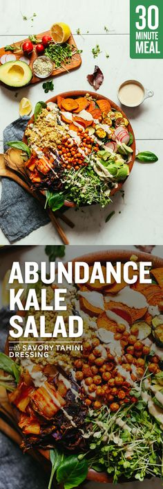 Low Unwanted Fat Cooking For Weightloss Abundance Green Salad With Savory Tahini Dressing 30 Min, Full Of Fiber And Nutrients Healthy Salad Recipes, Whole Food Recipes, Vegetarian Recipes, Vegetarian Salad, Beef Recipes, Recipies, Clean Eating, Healthy Eating, Healthy Food