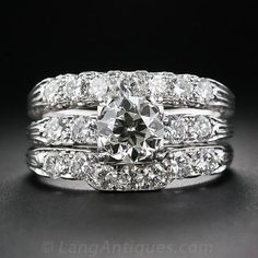 Jabel Mid-Century Platinum and Diamond Wedding Set - 10-1-6117 - Lang Antiques