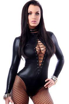 2015 New Sexy Special Mashup Style Women Sleepwear Teddies Lingerie Long Sleeve Black Wet Look Long Sleeve Bodysuit LC3263