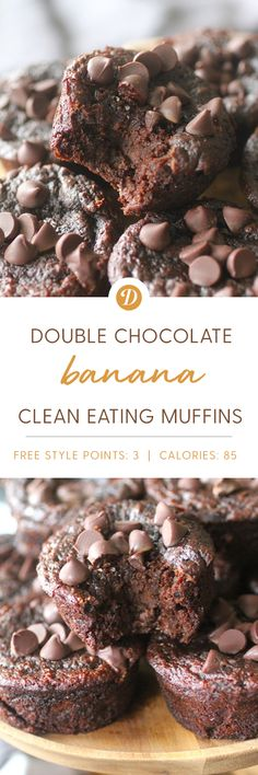 Double Chocolate Fudge Banana Muffins Chocolate Banana Muffins, Chocolate Fudge, Chocolate Recipes, Sweet Recipes, Real Food Recipes, Clean Eating Muffins, Ketogenic Desserts, Cupcakes, Just Desserts