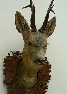 antique black forest carved wood roe deer head