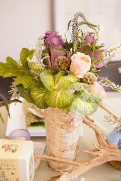 Peter Rabbit's Flowers: A closer look at the flowers on the Beatrix Potter table. Source: Kio Kreations