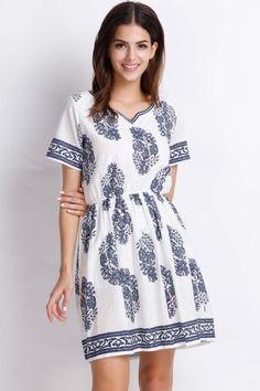 Demure Vintage Floral Mini Dress