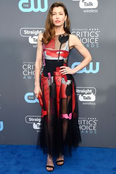All the Gorgeous 2018 Critics' Choice Awards Red Carpet Arrivals - Jessica Biel from InStyle.com