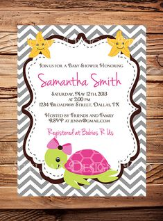 Turtle Baby Shower Invitation Baby Shower by StellarDesignsPro,