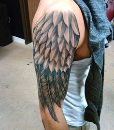 Male Wing Tattoo On Arm Half Sleeve Shaded