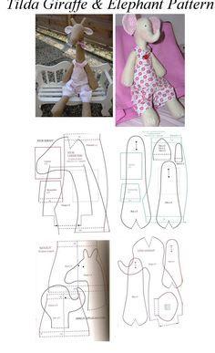 Tilda Giraffe & Elephant Pattern