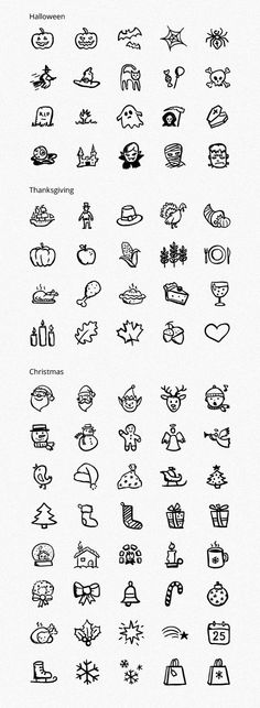 Icon-series for christmas, halloween & thanksgiving http://www.behance.net/gallery/Hand-drawn-Holiday-Icons-Part-1/6335975#