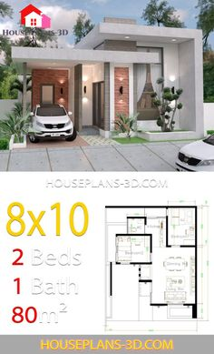 House design with 2 Bedrooms Terrace roof – House Plans – Home decoration ideas and garde ideas Modern Small House Design, Simple House Design, House Front Design, Minimalist House Design, Tiny House Design, Little House Plans, Small House Plans, House Floor Plans, 2 Bedroom House Plans