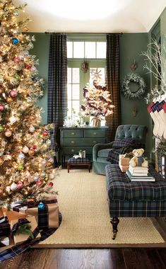 Green living room decorated for Christmas- This is such a pretty room. I love plaid at Christmas and have used red plaid ribbons and fabrics in my decorating, but never realized how pretty the blue and green plaid would look too.